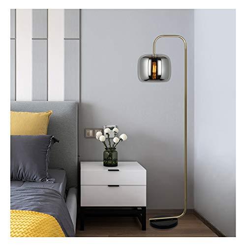 SHINEELI LED-Stehlampe für Wohnzimmer, hohe Mastleuchte, mit Glasschirm, Marmorsockel, für Arbeitszimmer, Bar, Restaurant, Café