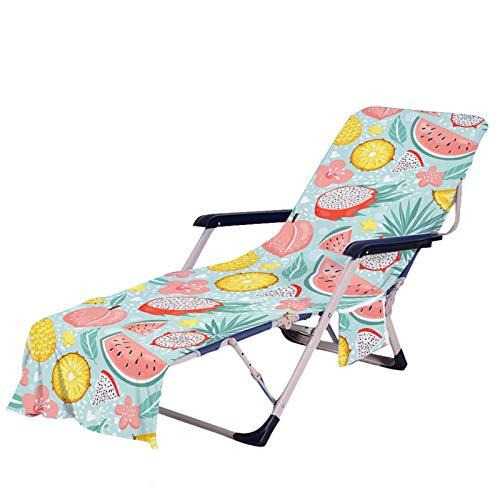 Stillshine. Verano Silla para Playa Portátil, Vistoso Fruta Helado Toalla de Playa con Bolsillo, para la Pileta, Tomar Sol, para el Jardín, Actividades al Aire Libre (Color 1,75 × 210 cm)