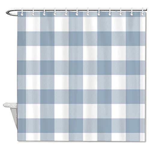 Duschvorhang aus Stoff, rustikales Blaugraues Büffelmuster, Duschvorhang für Badezimmer, wasserdicht, mit 12 Haken, maschinenwaschbar, 183 x 198 cm