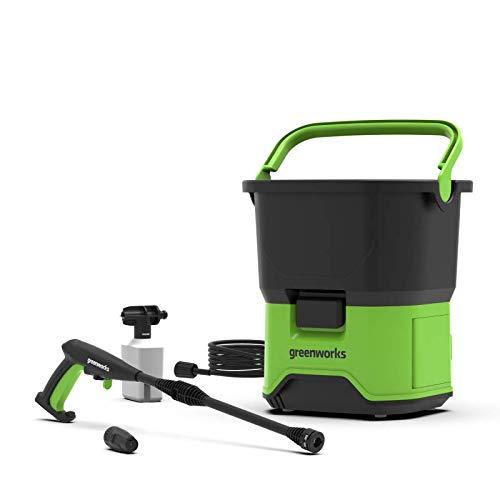 Greenworks GDC60 Limpiador a presión con batería, Li-Ion 60V, potencia motor 650 vatios, presión 70 bar, caudal 200l/h, tanque 20 L, manguera de 6 m sin batería 2Ah ni cargador