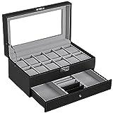 SONGMICS 12-Slot Watch Box, Watch Organizer, Lockable Jewelry Display...