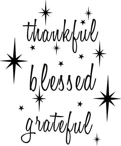 Thankful Grateful Blessed Quotes Wall Decals Vinyl Wall Art Decals Inspirational Wall Quote product image