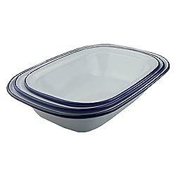 NEW - Falcon Enamel Bakeware Set of 3 Pie Dishes - 1 of each 24cm 26cm 28cm One of Each Sizes - 24cm, 26cm, 28cm - BNIB.