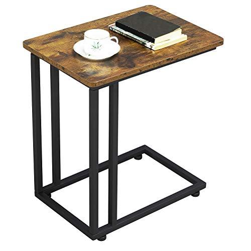 Yaheetech Tavolino Vintage da caffè Tavolino Basso da Divano con Ruote Industriale Salotto per Laptop Tavolino da Camera da Letto Nero e Marrone