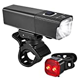 Bike Lights Front and Back, USB Rechargeable LED Bicycle Light and Tail light Set, 7 Light Modes up to Runtime 20 Hours, IPX-6 Waterproof, Bike Headlight and Rear Accessories for Cycling Road Mountain