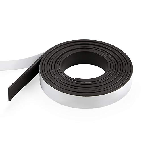 WEIHANG Magnetic Strips with Adhesive Backing 7 Feet Magnetic Tape Roll Flexible Magnet Strips with Strong Self Adhesive for Crafts, DIY, Office Supply (Width: 0.59 in/15mm, Thick: 0.08 in/2mm)
