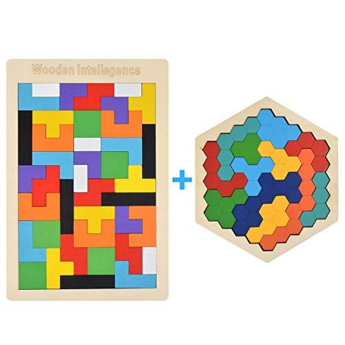 Loscrew Holz Tetris Puzzle Hexagon Puzzles für Kleinkinder Tangram Puzzle, Montessori Bildungsgeschenk für Kinder & Erwachsene