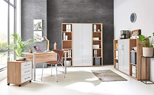 moebel-dich-auf.de Büromöbel komplett Set Arbeitszimmer Büro-Set »Tabor Office 5« (Sonoma Eiche/weiß Hochglanz)