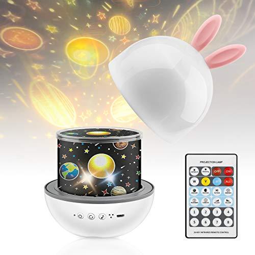 GOOJODOQ Proiettore Stelle Bambini,360 ° Musica Rotazione LED Luce Notte Bambini con Telecomando USB Proiettore Stelle Bambini con 8 Canzoni e 6 Pellicole