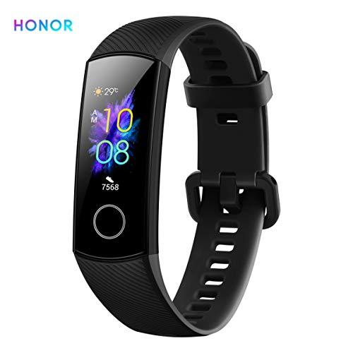 HONOR Band 5 Pulsera de Actividad Huawei Fitness Tracker Inteligente IP68 Smartwatch de Deporte con Notificación y Monitor de Pulsómetro, Sueño, Podómetro Android y iOS Negro (Versión Global)