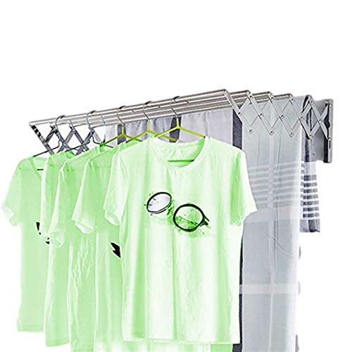 YUDIZWS Drying Racks For Laundry Foldable Wall Mounted Space Saver Fold Away Easy To Install Design Rustproof Accordion Retractable Rack Room/Bathroom Tower Laundry Room/Bathroom
