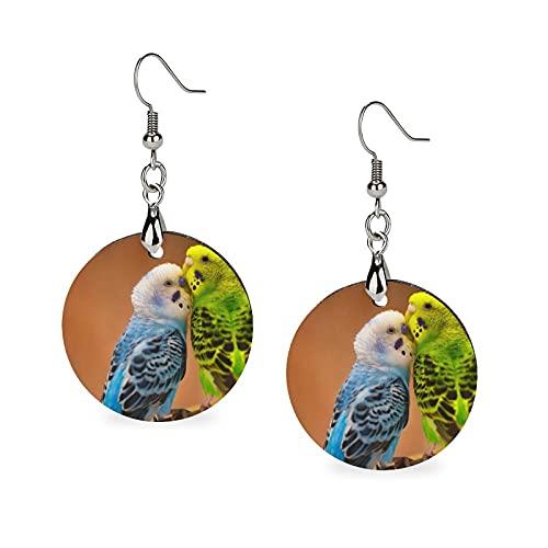 Holz-Ohrringe mit rundem Anhänger, Persönlichkeit, baumelnde Ohrringe für Mädchen, Wellensittiche, Vögel, Papageien