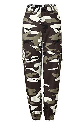 Pantalon Cargo Femme Militaire Taille Haute avec Poche sur Le Côté Mode Hip Hop Baggy Sweatpants Boyfrind Cigarette Pantalon Imprimé Camouflage de Survetement Loisirs Travail Training Jogging Legging