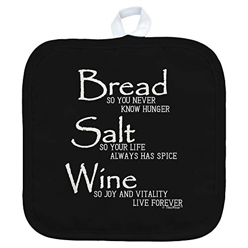 ThisWear Bread Salt Wine Housewarming Gift for Women Wonderful Life Quote Bread Salt Wine Square Pot Holder Black