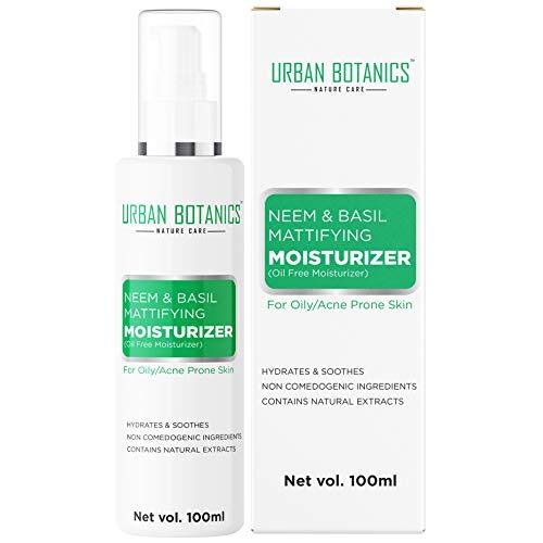 UrbanBotanics® Oil Free Moisturizer For Face – Mattifying Moisturiser Face Cream for Oily/Acne Prone/Normal Skin – with Neem & Basil Extract, Face Moisturizer – 100ml