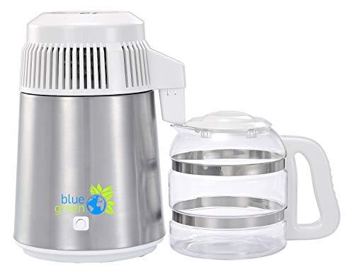 blue green Water Pro, Edelstahl/weiß, Wasserdestilliergerät mit Glaskaraffe, 4 Liter reines destilliertes Wasser, Kein Kontakt mit Kunststoff