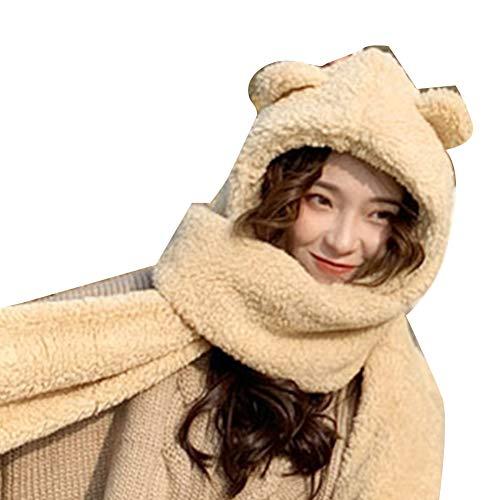 LPxdywlk Winter Warme Damen Schal 2 In 1 Niedlichen Lammfell Schal Bär Ohr Schal Hut Geschenk AprikoseNone