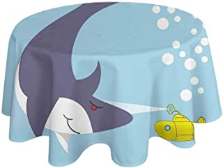 Yellow Submarine Washable Tablecloth Shark with Vessel in Ocean Bubbles Under Sea Theme Animals Cartoon Dinner Picnic Home Decor D59 Inch Blue Gray Yellow