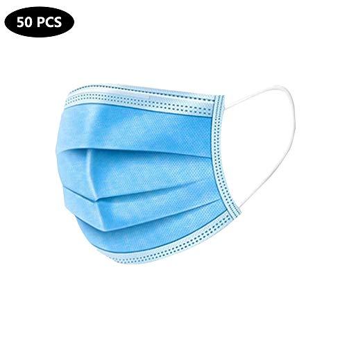 Außerhalb Blau Innen Weiß Einwegschutz Quadratisches Tuch 50Pcs (PP Nonwoven & Meltblown Gewebe + Ohrbügel + Brücke Der Nase) Adult