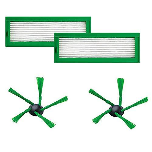Kit de limpieza con cepillos y filtros, piezas de repuesto para aspiradora Vorwerk Kobold VR200 VR-200, filtro HEPA, filtro de polvo (2 filtros y 2 cepillos laterales)