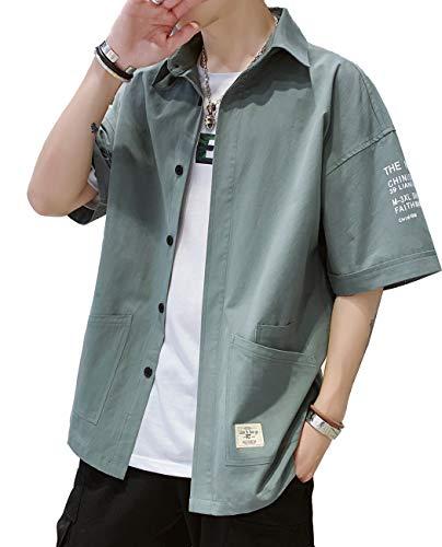 シャツ メンズ シャツ 半袖 100%綿 メンズ カジュアル シャツ 春 夏 秋 ジャケットシャツ ファッション ポロシャツ メンズ Tシャツ ポケット シャツ 通気性