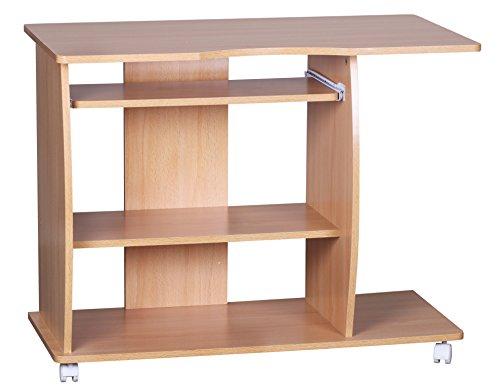Wohnling Computertisch Diana Buche modern mit Tastaturauszug, PC-Tisch Holz platzsparend mit Rollen, Laptop-Tisch mit Drucker Ablage, Schreibtisch für kleine Räume, 90 x 50 x 66 cm