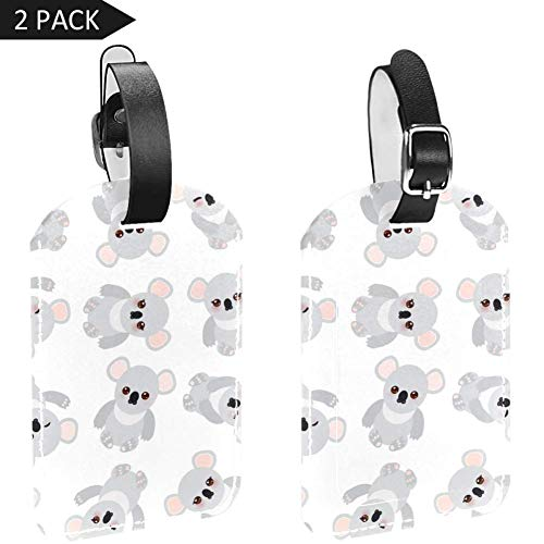 Luggage Tags Funny Cute Koala Leather Travel Suitcase Labels 2 Packs