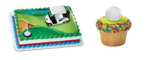 Golf Cart Cake Topper & 12 Pack Golf Balls Cupcake Rings