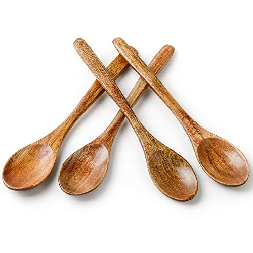 Sweese 6Inch Coffee Spoons Ice Cream Spoon Wooden Cocktail Stirring Spoons Set of 4
