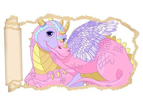 11P715 3D-wandtattoo, kinderkamer, cartoon, draak, dragon, dino, roze, meisjes, tovers, behang, muur, sticker, muurdoorbreking, sticker, zelfklevend, muurschildering, muursticker, woonkamer ca. 97cmx57cm