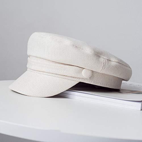 TWDYC Cap Primavera Sombreros de Las señoras de Las Mujeres Sombrero del Verano Octogonal Plana y otoño Femenino del algodón de la Marina Cap Sombreros for Mujeres Mujer del Sombrero (Color : B)