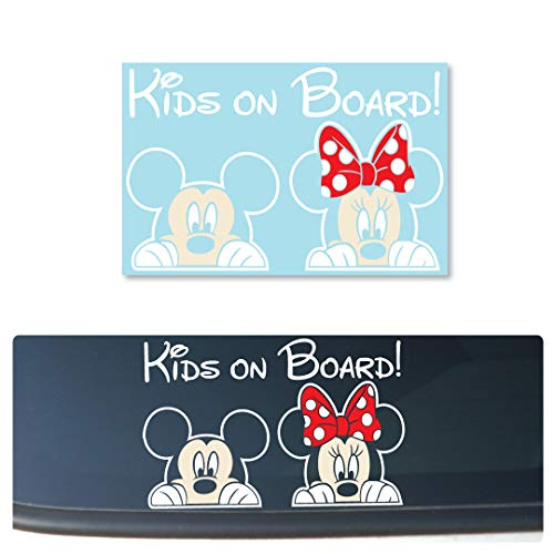 Mickey and Minnie PEEKING'Kids On Board' [COLOR] Sign Layered Vinyl Decal for Cars/Trucks