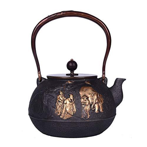 Cast Iron Teapot Kettle Tea Set for Loose Leaf Tea and Teabags, 1.2L Ancient Capital Copper Handle/Pot Lid Flat Bottom Stove Induction Cooker