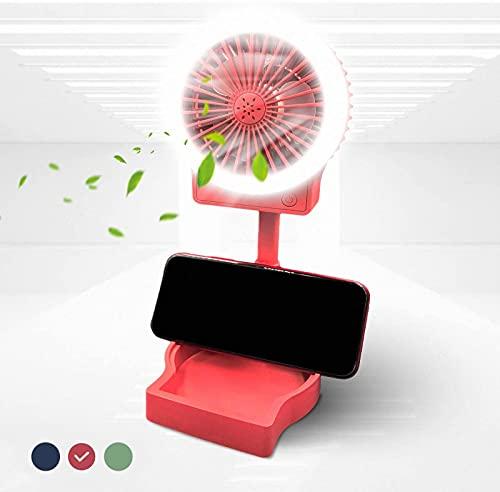 QAZW Ventilador De Luz De Anillo USB Selfie, Mini Ventilador De Escritorio Portátil De 3 Velocidades, Alimentado por USB, Soporte del Teléfono, Almacenamiento. Adecuado para Viajes,Red