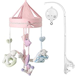 TILLYOU Crib Mobiles for Baby Girls with Hanging Rotating Rattles, Mobile for Crib Girl with Music Box 12 lullabies, Nursery Décor Toys Shower Gifts for Newborns, Infants 0-24 Months(Pink)