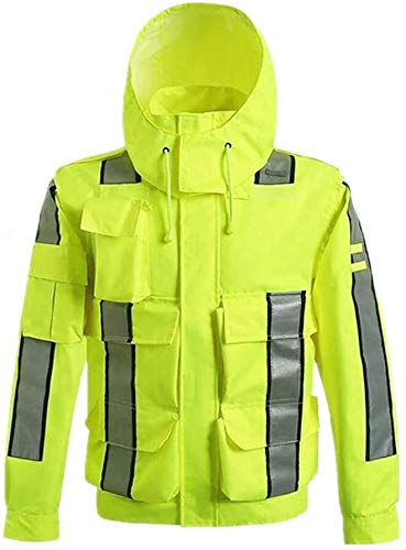 Outdoor Safety Vesten Heren High Visibility Vest Waterdichte Regenjas Reflecterende Safety regenjas met capuchon Poncho For Work Activity XMJ (Size : 2XL)