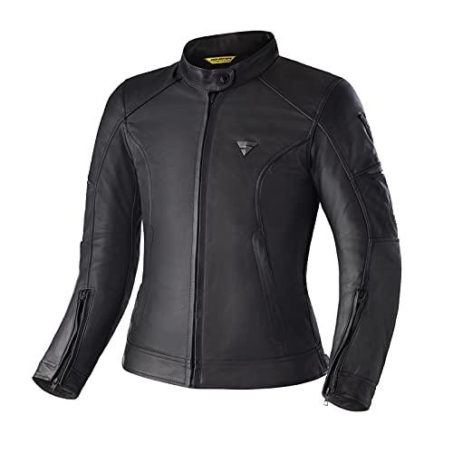 SHIMA MONACO Chaqueta Moto Mujere - Cazadora Moto Mujere Vintage de Cuero A+ Ventilado con Protecciones CE Espalda, Hombros, Codos, Reforzado Costuras Dobles (Negro, M)