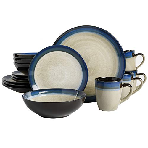 Gibson Elite Couture Bands Round Reactive Glaze Stoneware Dinnerware Set, Service for Four (16pcs),...