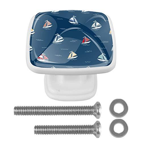 [4 piezas] pomos decorativos para armario, armario, puerta de cajón, tiradores de herraje, barco náutico, azul