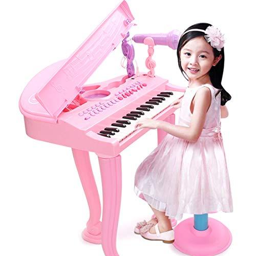 Haunen Piano mit Mikrofon und Hocker - Kinder Klavier Piano Standkeyboard mit 37 Klaviertasten - Licht- und Soundeffekte - Kinder Keyboard Tastatur Musikinstrument