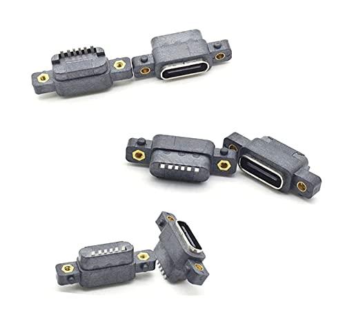 JIAN Tipo-C USB 3.1 6 pines hembra SMD DIP conector con agujero de tornillo para diseño de PCB DIY Puerto de carga rápida de alta corriente exquisito (color: 50 piezas)