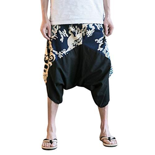 Pantalones Sarouel Pantalones Harem Pantalones Hombres Aladdin Festival Mujeres de Moda para Mujer Sarouel Pantalones Holgados Pantalones Hippie Ropa Yoga Thai Drop Entrepierna M 3XL