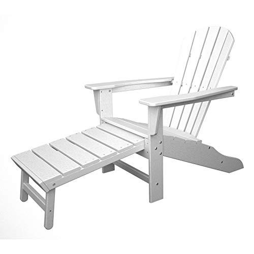 Polywood CASA Bruno South Beach Ultimate Adirondack Chair mit ausziehbarem Fussteil, aus recyceltem HDPE Kunststoff, Weiss - kompromisslos wetterfest
