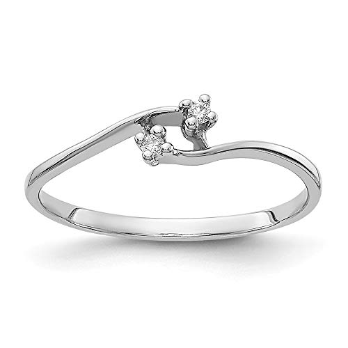 14ct de oro blanco anillo de diamantes en bruto - Talla L 1/2 - JewelryWeb