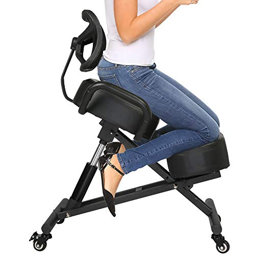 LONABR Ergonomic Kneeling Chair with Back Support Adjustable Stool for Office and Home Angled Seat Improve Your Posture Thick Comfortable Cushions Wheel Black Chair Support 200LBS