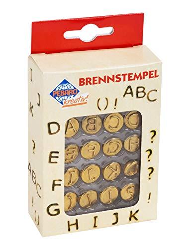 Pebaro 20400 Brennstempel für Brandmalerei, 16-teilig, aus Messing, Buchstaben A-L und Sonderzeichen, zum Brennen auf Holz, Leder, Kork und anderen Materialien, 12, 50 x 7 x 2, 15 cm
