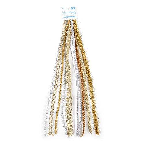 Darice Fabric Value Pack, Silver and Gold Mix, 10 feet Trim, Piece