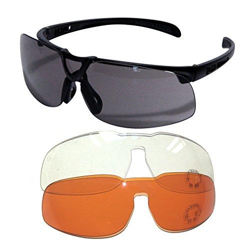 L.A. Sports Sportbrille Pro 15530 Rahmenlos Sonnenbrille Outdoor Sport Freizeit l Wechselgläser dunkel orange klar UV-Schutz polarisierend schwarz Unisex Damen Herren