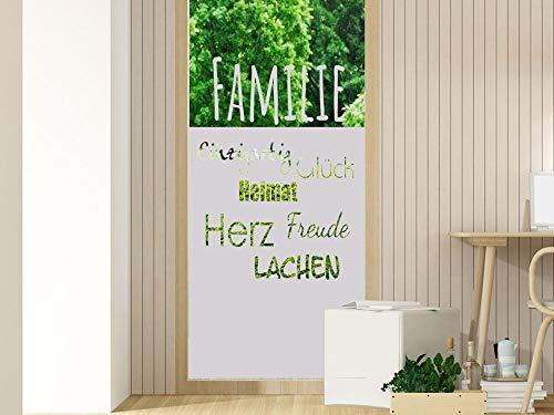 GRAZDesign Milchglas Folie Sichtschutz Streifen - für Glastür oder Duschwände Fensterfolie/Motiv: Familie Wörter für Wohnzimmer / 80x80cm Breite x Höhe