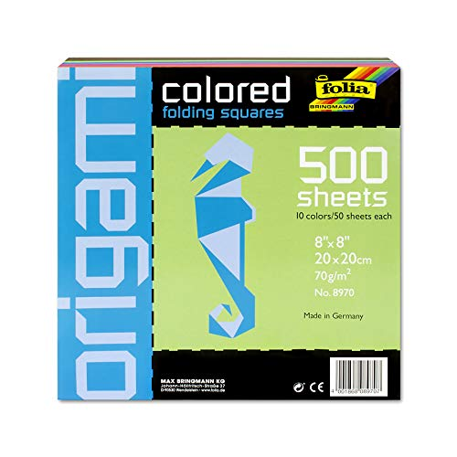 folia 8970 - Faltblätter eckig, 20 x 20 cm, 70 g/qm, 500 Blatt sortiert in 10 intensiven Farben - ideal zum Papierfalten und für andere kreative Bastelarbeiten